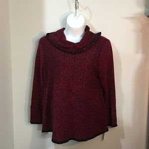 Red and Black Cowl Neck Sweater